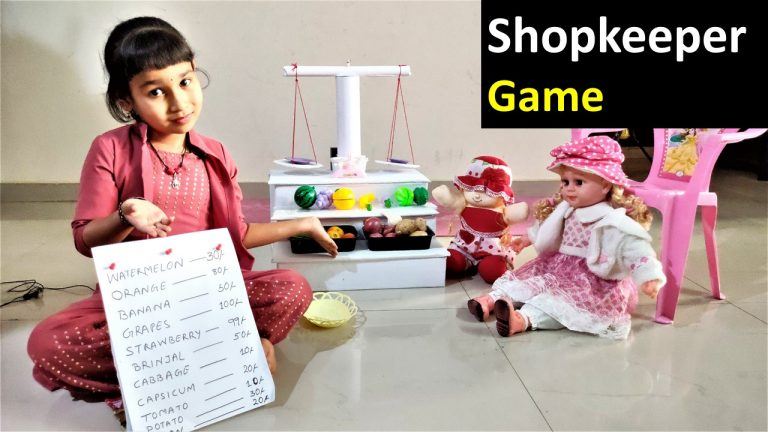 Shopkeeper game in Hindi – PRETEND PLAY WITH SHOPPING SET